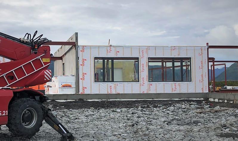 Bygningsmodul på en byggeplass
